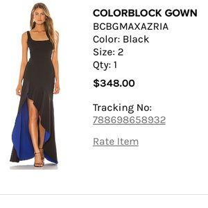 BCBGMAXAZRIA colorblock gown